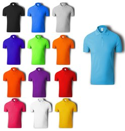 Wholesale Blue Golf Tees - Free Shipping Poly-Cotton Men Polos Golf Tees 13 Colors Unisex Casual Short-Sleeve Polos Quick Dry Tees Drop Shipping