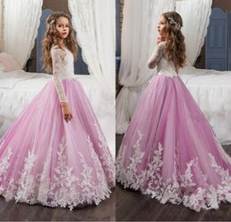 Wholesale Long Sleeve Shirts For Kids - 2017 Lovely Lace Flower Girls Dresses For Weddings Pink Long Sleeves A Line Long Pageant Dresses for Girls Kids Prom Gowns