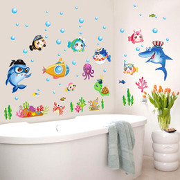 Wholesale underwater wallpaper murals - DIY Home Decoration Adesivo De Parede Underwater World Various Fish Ocean Wall Sticker Wallpaper Art Decor Mural Room Decal