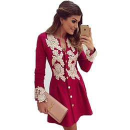 Wholesale Chiffon Grown - Wholesale- 2017 New Spring and Casual Red Chiffon Dress Long Grown Sleeve V-Neck Lace Dresses Button Above Knee Dress Vestidos