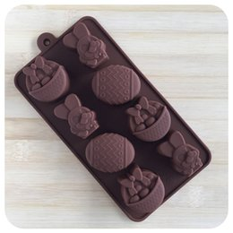 Wholesale Easter Egg Silicone - Wholesale- 2017 Easter Eggs Rabbit Fondant Chocolates Silicone Mold for Cookie Cake Decorating Tools Kitchen Accessories Stencil