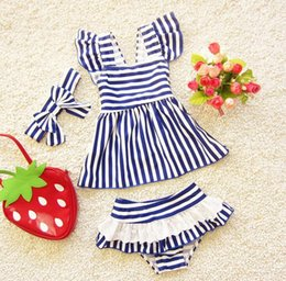 Wholesale Toddler Girl Wearing Swimsuit - Girls swim wear Swimsuits separate swimwear for children mermaid swimsuit for kids striped toddler girls bathing suits