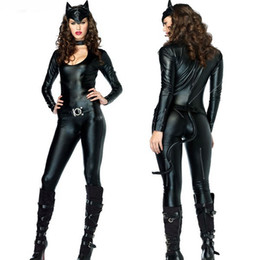 Catsuits nero online-Sexy Catwoman Costumes Black Catsuits Halloween Women Animal Cat Cosplay Outfit Tuta manica lunga con coda