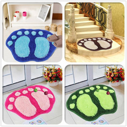 Wholesale door mat cute - Wholesale- Cute Big Feet Shaggy Carpet Absorbent Anti-slip Mat Bedroom Bathroom Floor Door Mat Bibulous Floor Mat 40*60cm Fast Shipping