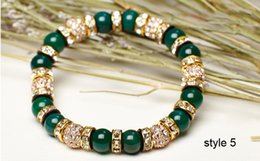 Wholesale Naturals Green Diamond - Best Gift bracelets for women natural agate bead bracelets Diamond crystal ball bracelets women 2017 hotsell free shipping