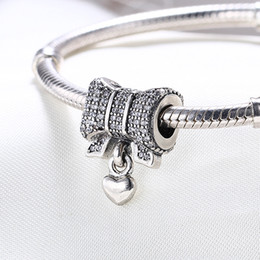 Wholesale 925 Sterling Silver Bracelet Bow - Wholesale Real 925 Sterling Silver Not Plated HEART With BOW CZ European Charms Beads Fit Pandora Snake Chain Bracelet DIY Jewelry