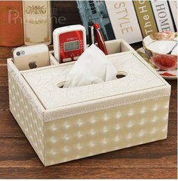 Wholesale Wooden Pen Storage Boxes - Wholesale- Free shipping Wooden leather multi-functional desk stationery organizer storage box pen pencil box holder case