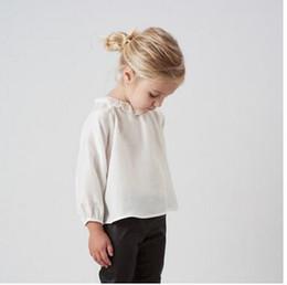 Wholesale Silk Shirts Girls - Children shirts Baby girls Silk pure color long sleeve blouses Autumn Kids falbala round neck tops fashion Children soft clothes C1810