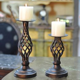 Wholesale Religious Supplies - New arrival Creative Hollow Black Metal Retro Candle Holders Bar Table Candlesticks Wedding Party Supply Home Decoration