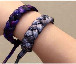 Wholesale Printed Shoelaces Wholesale - Braided bracelet Shoelaces bracelet Band leaf flag colorful print 11 styles wholesale Charm Bracelets