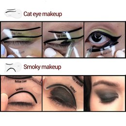 Wholesale Eyeliner Shaper - Free Shipping 2 Styles Beauty Cat Eyeliner Models Smokey Eye Stencil Template Shaper Eyeliner Makeup Tool 10pcs set