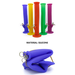 Wholesale Water Washable - Wholesale 13.97inches Portable Unbreakable Silicone Bongs water bong Smoking Water Pipes Washable Foldable Colorful beaker bongs