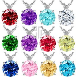 Wholesale Birthstone Colors - Free shipping 12 colors birthstone round cubic zircon white pendant necklace 17.5''+1.9'' extra chain