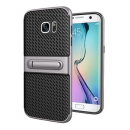 Wholesale For Samsung Galaxy S8 plus iphone7 plus S S7 edge carbon fiber Wire drawing Kickstand Hard Cases TPU PC in Phone Cas