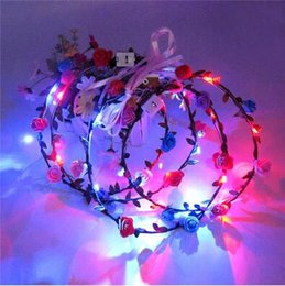 Wholesale Lighted Rose Garland - Newest Flashing Light Up Flower Headband Garland Wedding Party Wreath LED Flashing Rose Flower Festival Headband CCA6645 100pcs