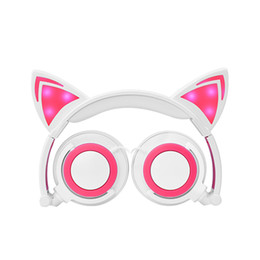 Wholesale Cute Stereo Headphones - Foldable Flashing Glowing Cute Cat Ear LED light Headphones Gaming Headset Headphone Earphone For PC Laptop Computer Cellphone