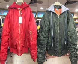 Wholesale Kpop Jacket - 2018 winter MA-1 bomber jacket men Hip Hop kpop vetements unisex men baggy oversized jacket and coat army green red