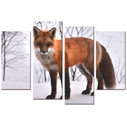 """Wholesale More Fox - Fox Picture HD Canvas Art Prints Snow Scenery Home Wall Decoration(12""""x24""""x2 12""""x32""""x2)"""