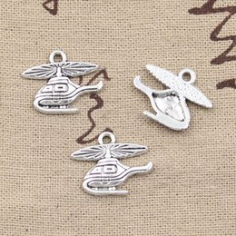 Wholesale Helicopter Charms Silver - Wholesale-99Cents 12pcs Charms helicopter airplane 15*19mm Antique Making pendant fit,Vintage Tibetan Silver,DIY bracelet necklace