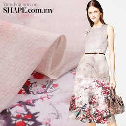 Wholesale Silk Printed Fabric Clothing - Flower Printed Silk Linen Fabric Mulberry Clothing Silk Printing Dress Material