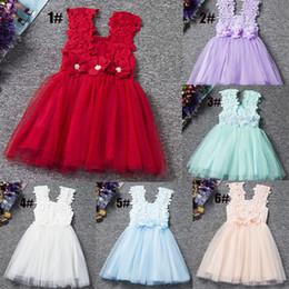 Wholesale Wedding Dress Sashes Wholesale - INS Baby Lace Dress 2017 Summer Babys Clothes Wedding Dresses Children Flower Dresses Girls Party Flower TUTU Dress Kids Clothing Fast Ship