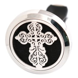 Wholesale Vintage Perfume Pendant - Vintage Cross Anchor 30mm Aromatherapy Essential Oil surgical Stainless Steel Pendant Perfume Diffuser Car Lockets Include 50pcs Felt Pads