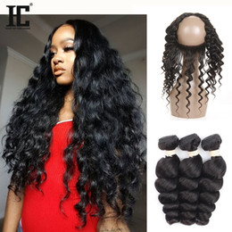 Wholesale Band Wave - Pre Plucked 360 Lace Frontal Closure With 3 Bundles 8A Brazilian Loose Deep Wave Virgin Human Hair Weave With Full Lace Band Frontal