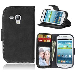 Wholesale S3 Mini Wallet Phone Covers - For Samsung Galaxy S3 S 3 mini I 8190 I8190 i8190t GT-i8190 GT-I8190N case Phone Leather Cover for s iii mini i 8200 i8200 cases