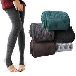 Wholesale Wholesale Womens Heels - Wholesale- Womens Girls Warm Knitted Cable Leggings Solid Stretchy Fitness Over Heels Pantynose Spring Autumn Pants One Size Slim Leg Q5323