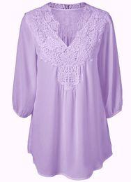 Wholesale Crochet Basics - Summer Elegant Women Lace Blouses Floral Crochet Chiffon Shirt Ladies Shirts Top Femme Pullover Basic Wear Plus Size S-5XL