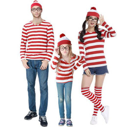 Wholesale Shirt Halloween Adult - Adult Man Kids Red White striped long sleeve t Shirt Funny Family Suits Costumes stripe cosplay stockings Shirt For Women Girls halloween