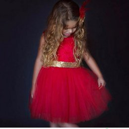 Wholesale Hot Pink Party Girls Dresses - Hot Kids Baby Girls Children Dresses Sleeveless Sequins Bow Wedding Princess Party Dress For Age 1-6 Years
