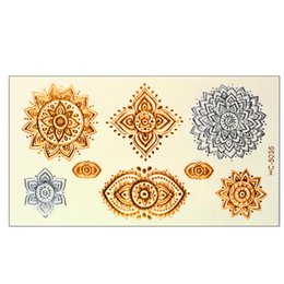 Wholesale Lips Tattoos Sticker Glitter - Wholesale- Waterproof Square silver arrow tattoo bracelet Body art glitter gold tattoo stickers temporary flash tattoo Disposable indians