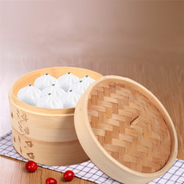 """Wholesale Chinese Steamer - Durable Cookware 2 Tiers 8"""" Healthy Bamboo Steamer Dim Sum Basket Rice Sum Pasta Cooker Set With Lid Chinese Kitchen Cookware"""