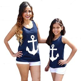 Wholesale Cute Bow Shirts - Mother Daughter Clothes T Shirt 2017 Summer Navy Anchor Matching Family Shirts Cute Bow Suspender Family Look Mother SonDaughter Outfits