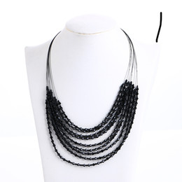 Wholesale Multi Row Necklaces - Fashion Necklace Pearl Crystal Jewelry Natural Multi row Jewelry Choker Necklace For Women