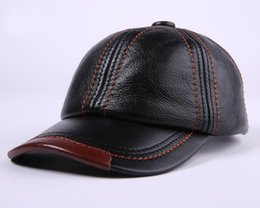 Wholesale Casual Winter Ball Caps - New leather cap arder baseball cap in Autumn and Winter outdoor mens tourist cap