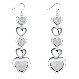 Wholesale Order Fashion Earrings China - YUEYIN Statement Jewelry Long Earrings Many Hearts Sand Surface Artic Woman Chandelier Dangle E321 Silver Plated Fashion Min Order One Piece