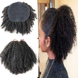 2019 clips africanos gratis 100% pelo humano cola de caballo Afro rizado rizado cola de caballo mongol virginal pelo cordón cola de caballo extensión 100 g 120 g 140 g 8-24 pulgadas