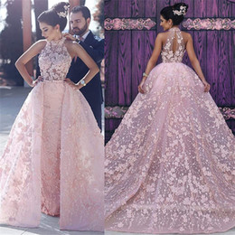 Wholesale Unique Purple Ball Gown Dresses - High Neck Unique Design Flowers Lace Evening Dresses Gorgeous Pink Overskirts Prom Dress 2017 Arabic Custom Made