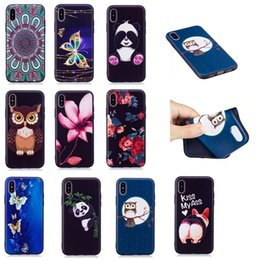 Wholesale Black Lighting Panda - For Iphone X Relief Flower Butterfly Soft TPU Silicone Case For Galaxy Note 8 Note8 Owl Panda Cover Cute Lovely Rose Cartoon Gel Skin
