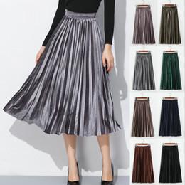 falda lápiz mujer raso Rebajas Mujeres Otoño Invierno Pleuche Largas Faldas Plisadas Elásticos de Cintura Alta Warm Tutu Midi Faldas