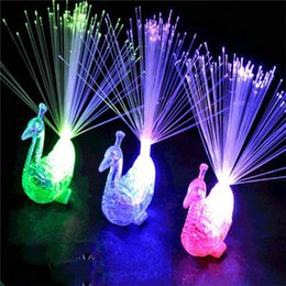 Wholesale Peacock Lamps - Creative Peacock LED Finger Ring Lights Beams Party Nightclub Color Rings Optical Fiber Lamp Kids Children Halloween Gifts 3002055