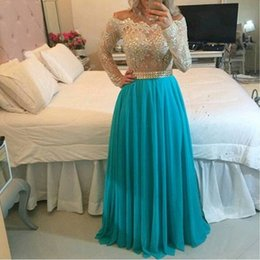 Wholesale Lilac Dresses Sale - Hot Sale 2016 Off the Shoulder High Quality Lace Pearl Beaded Long Sleeves Chiffon Skirt Floor Length A Line Prom Dresses ED037