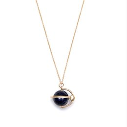 Wholesale Blue Sandstone - New Arrivals Brand Simple Style Earth Tellurion Shape Blue Sandstone Pendant Charm Necklace High Quality Fashion Jewelry for Women