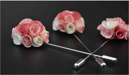 Wholesale Silk Suits China - 2017 NEW Colored silk corsage wedding brooches pin men's suit flower brooches for wedding party