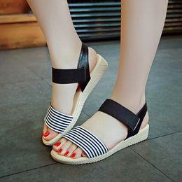 Wholesale Shoes For Pregnant - Sale Sandals Women Summer Slip On Shoes Peep-toe Flat Shoes Roman Sandals Anti Slip Soft Bottom Sandals For Pregnant Women .LX-002