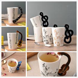 Wholesale Print Coffee Mugs - Music Ceramic Cup Guitar mug Creative Print Flute Piano Coffee Mugs Home Office Drinkware 14 Types 300ml Personality Milk Juice Mug