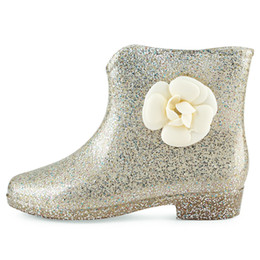 Wholesale floral embellishments - Beautiful Fashion Glittering Flower Decoration Paillette Embellishment Floral Water Resistance Ankle Rubber Ladies and Girls Rain Boots