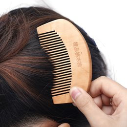 Wholesale Magic Wood Hair Combs - high quality multifunctional 9*5.2cm peach wooden style magic plastic hair comb,women hair clips hair accessories